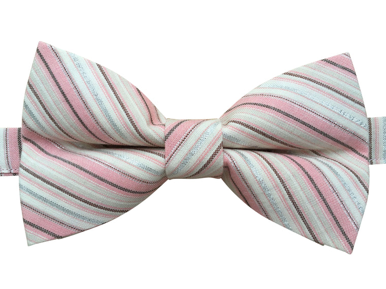 Pink and Shiny Silver Striped Bow Tie
