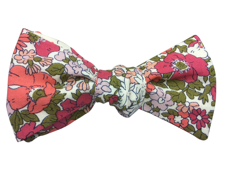 Pink & Green Floral Bow Tie - Liberty Print