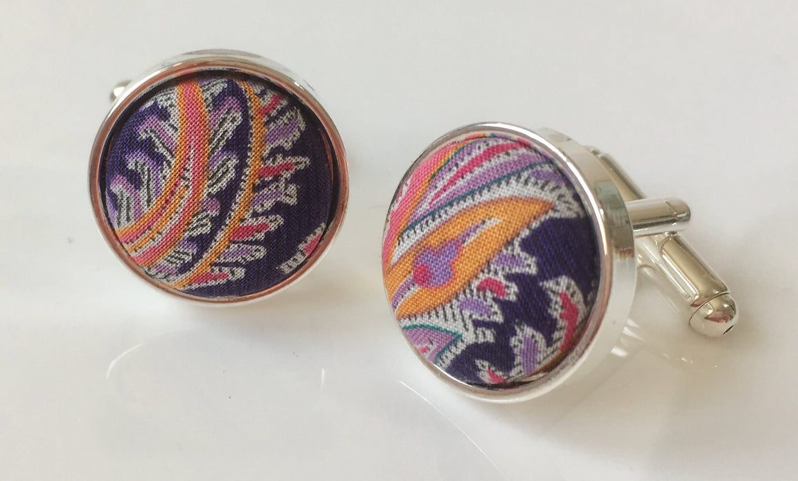 Cufflinks in Purple Indigo Paisley Liberty of London Fabric