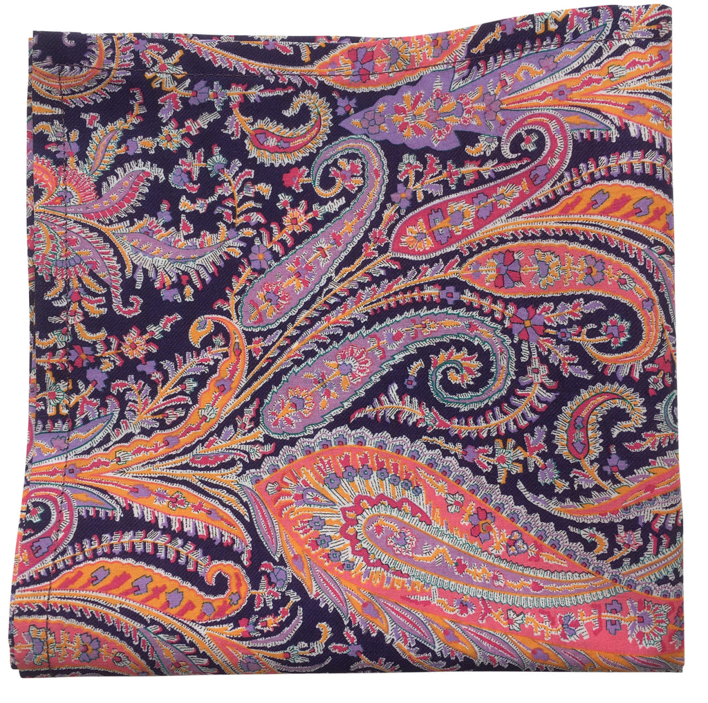 Deep Purple Indigo Paisley Pocket Square