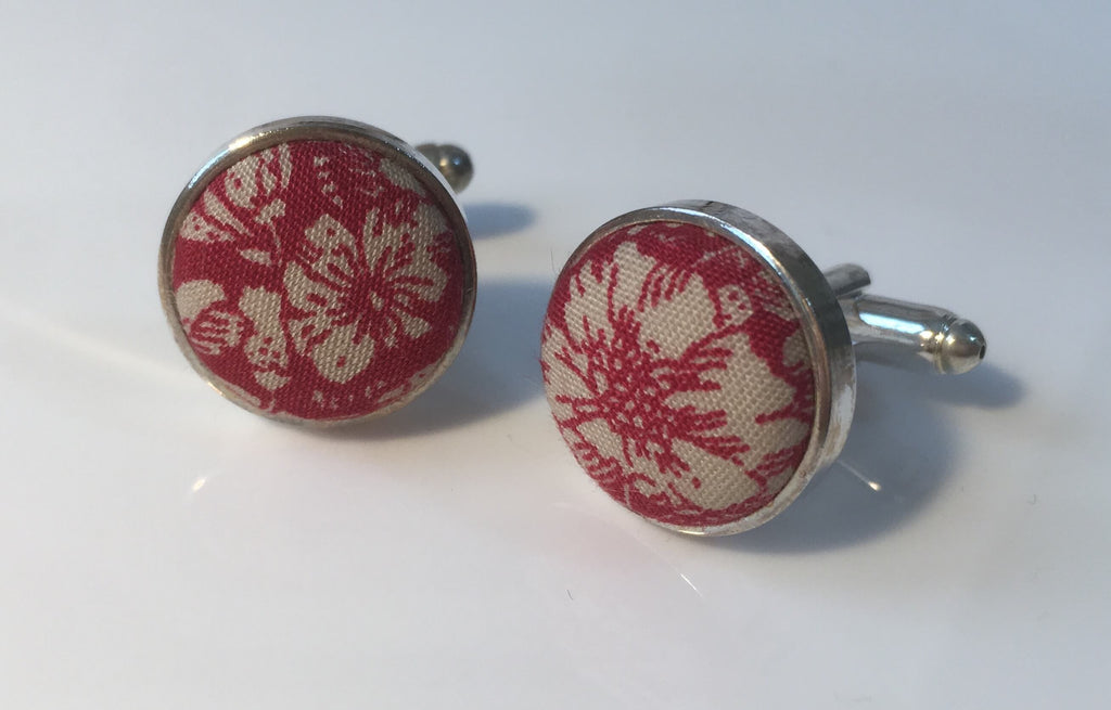 Vintage Red and Cream Floral Cufflinks