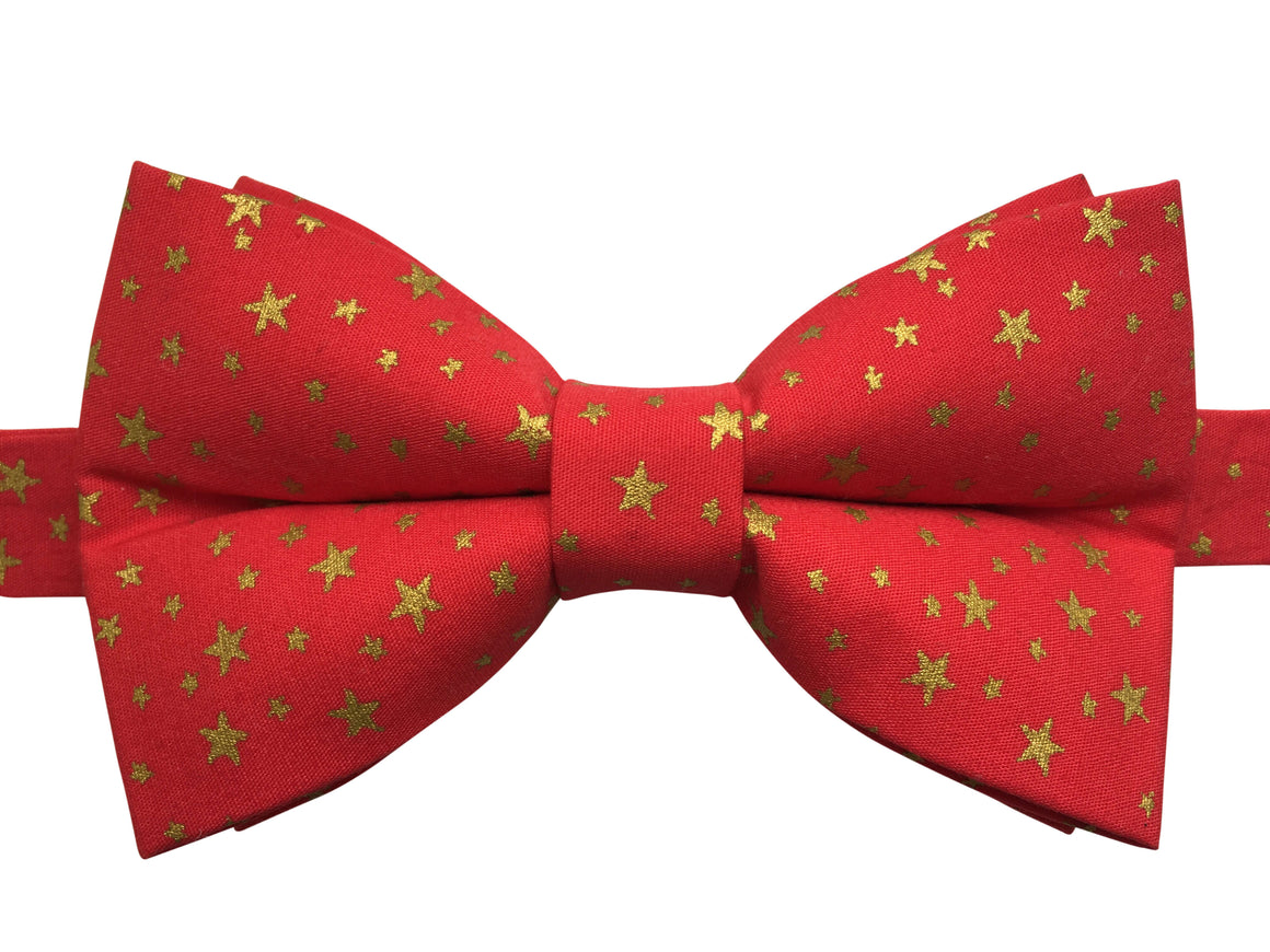 Red and Gold Stars Bow Tie