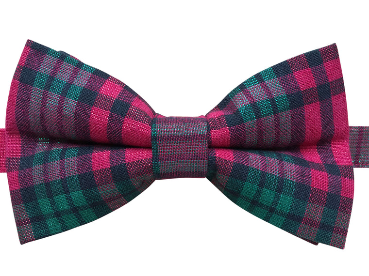 Metallic Red and Green Tartan Bow Tie