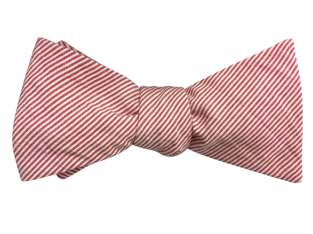 Red and White Striped Chambray Self Tie Bow Tie