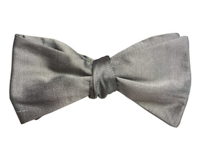 Silver Silk Self Tie Bow Tie