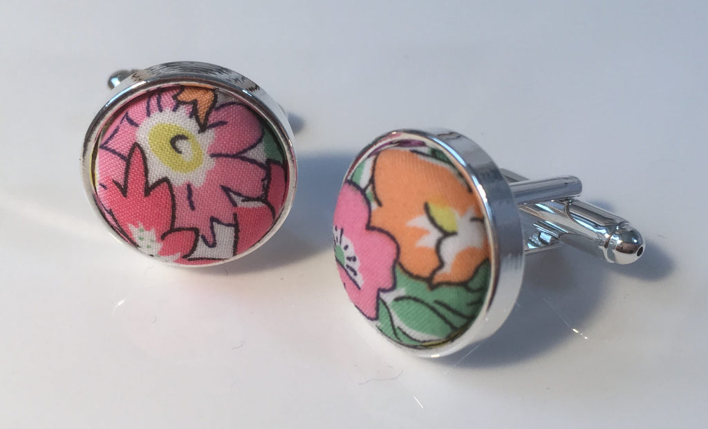Tropical Floral Liberty Print Cufflinks