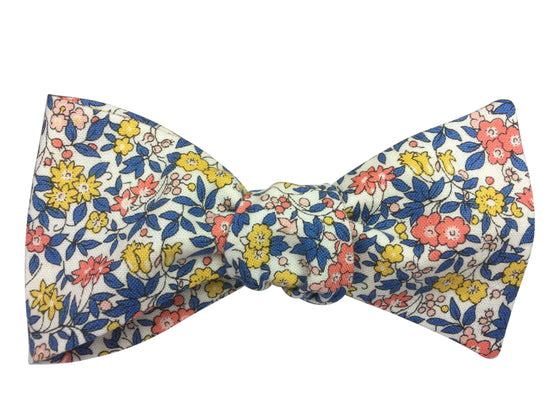 Blue & Yellow Floral Bow Tie - Liberty Print