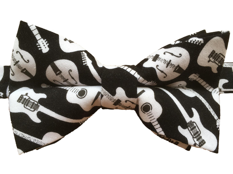 Funky Black & White Guitar Bow Tie