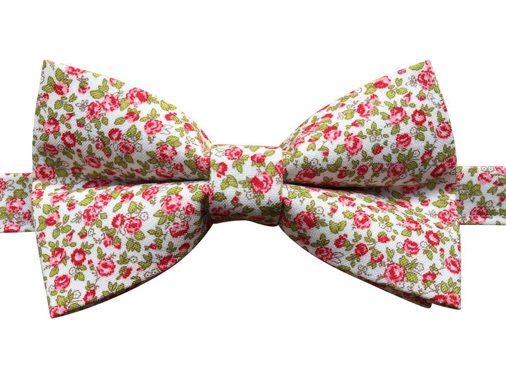 Pink Floral Bow Tie on White