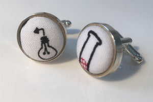 Cufflinks White Science, Chemistry, Biology and Physics