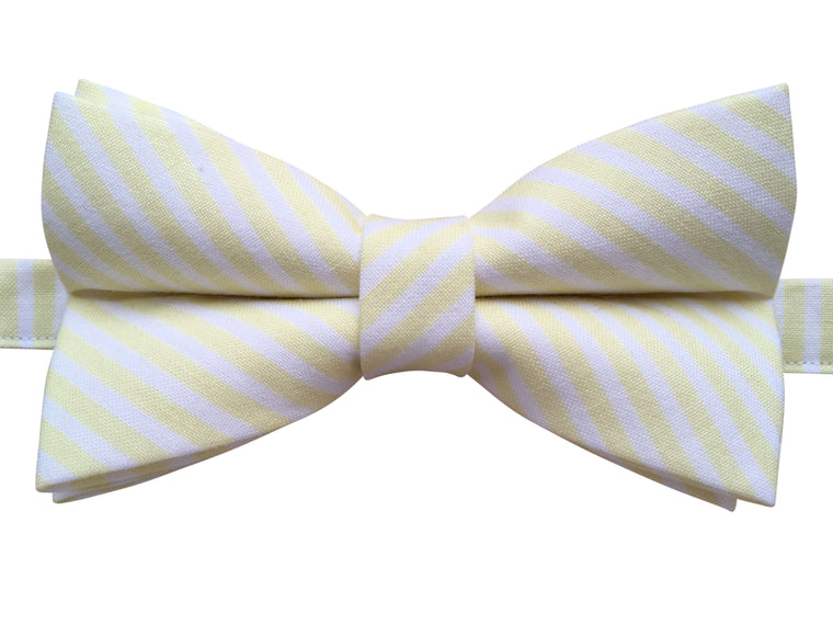 Yellow Lemon & White Candy Stripes Bow Tie