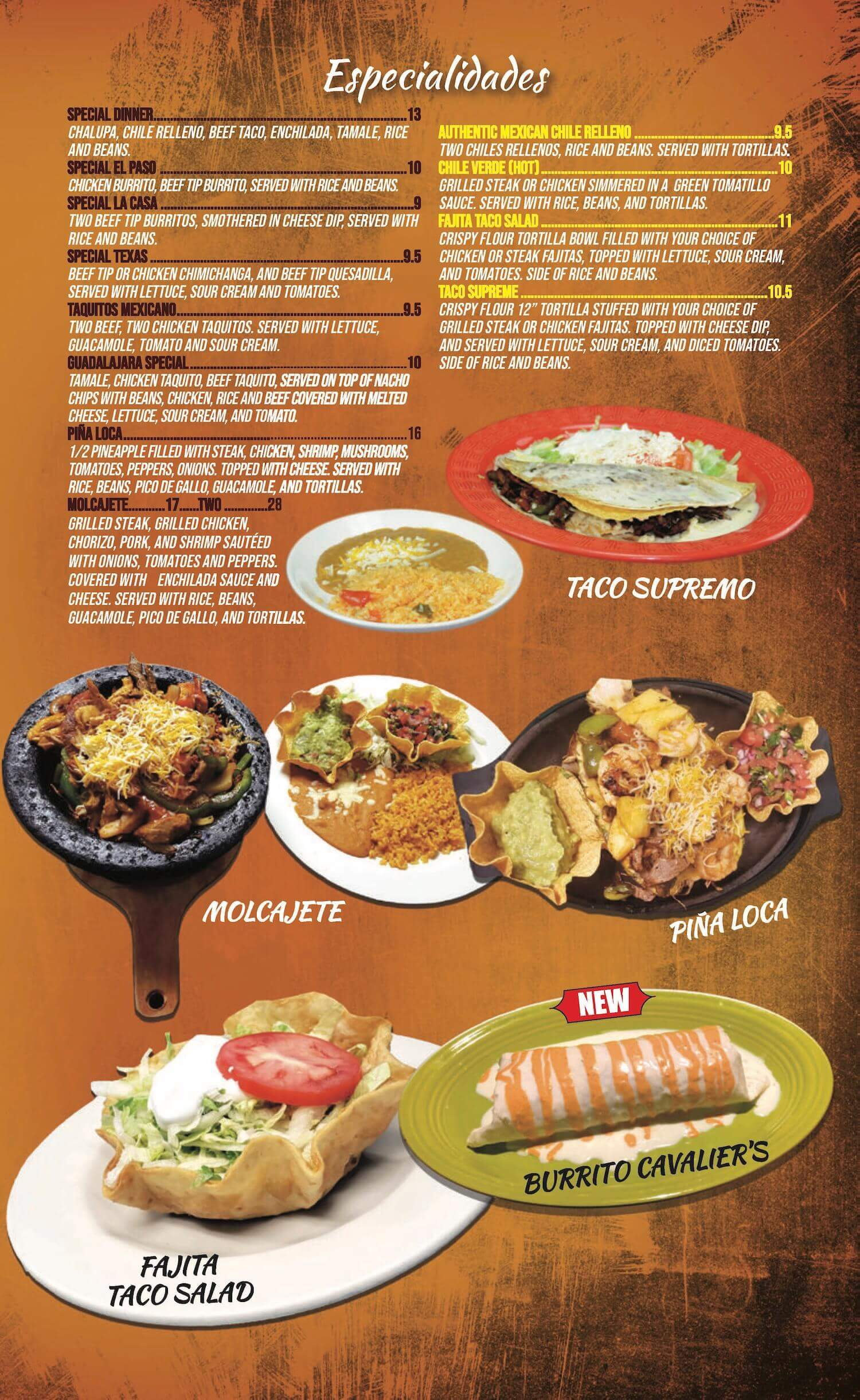Don Tequila Mexican Restaurant Menu Amherst & Elyria Ohio