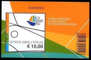 CYPRUS 2012 PRESIDENCY OF THE EU COUNCIL,MINIATURE SHEET, MNH , 2 JULY 2012.-moneyworld-store
