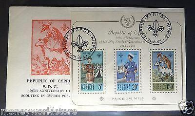 CYPRUS 1963 *MINIATURE SHEET BOY SCOUTS CACHETED FDC* XF-moneyworld-store