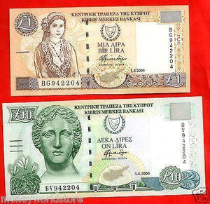 CYPRUS 2004-05 2 BANKNOTES POUNDS UNC* £1 , £10 SAME NO. 942204 *-moneyworld-store