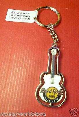 Hard Rock Cafe Ayia Napa 1 white SPINNER GUITAR SOLID KEYCHAIN-moneyworld-store