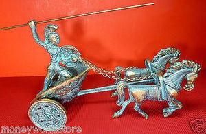 GREECE BRONZE STATUE MODEL 8X5X4'' ACHILLES CHARIOT,NEW,TROJAN WAR-moneyworld-store