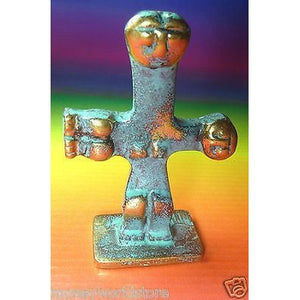 CYPRUS CRUCIFORM BRONZE IDOL FIGURINE3.00''X 1.80'' MUSEUM STATUE,FERTILITY,NEW-moneyworld-store