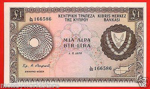 "CYPRUS 1978 £1 POUND BANKNOTE GEM UNC "" NO.L/96 166586 ""P#43c,RARE-moneyworld-store"