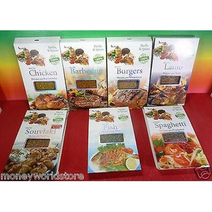 GREECE GREEK HERBS & SPICES 7 PACKSX40g FOR BARBEQUE,BURGERS,CHICKEN&-moneyworld-store