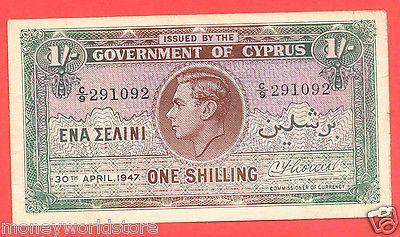 CYPRUS 1947 1 ONE SHILLING BANKNOTE,C/9 291092,VF-moneyworld-store