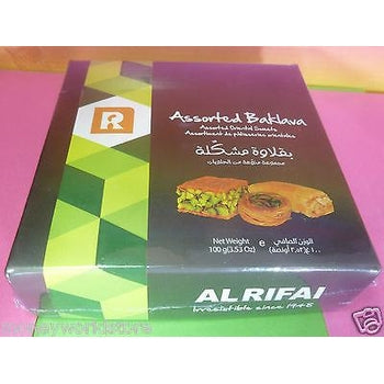 ALRIFAI ASSORTED BAKLAVA 1 PACK 100g ORIENTAL SWEETS,IRRESISTIBLE,LEBANON TREATS-moneyworld-store