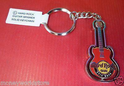 Hard Rock Cafe Ayia Napa 1 RED SPINNER GUITAR SOLID KEYCHAIN-moneyworld-store