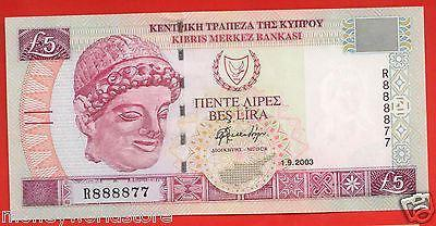 CYPRUS 2003 £5 POUNDS BANKNOTE GEM UNC FANCY LUCKY NUMBER R888877, P#61B-moneyworld-store