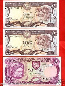 CYPRUS LOT 3 GEM UNC BANKNOTES POUNDS 2 X £1 1995 ,£5 1979,P53#d,P#47-moneyworld-store