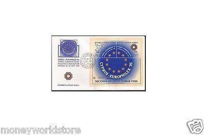 CYPRUS 1995 FDC *EUROFILEX 95*£5+£5 OVERPRINTED MINIATURE SHEET,XF,VERY RARE,OLD-moneyworld-store