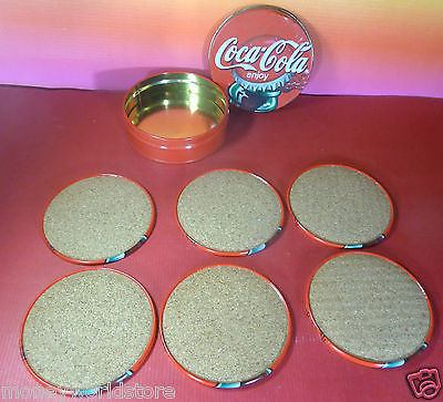 COCA COLA ENJOY 6 METAL COASTER IN COLLECTIBLE BOX ,XF CONDITION-moneyworld-store