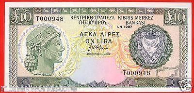 CYPRUS 1987 £10 POUNDS BANKNOTE GEM UNC T000948, P #51-moneyworld-store