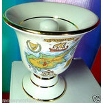 HANDMADE POPCELAIN WHITE 24K GOLD FAIR CUP *PYTHAGORAS*MUG,NEW,GREECE-moneyworld-store