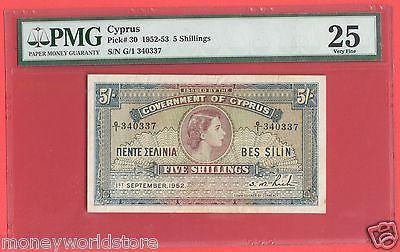 CYPRUS 1952 PMG VF25 5 SHILLINGS QUEEN ELIZABETH II,GB JUBILEE-moneyworld-store