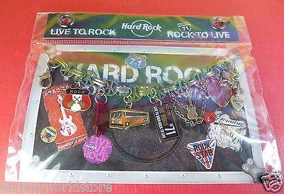 Hard Rock Cafe 1 BRACELET WORLD TOUR WITH 10 CHARM,ROCKIN THE ROAD,NEW ON CARD-moneyworld-store