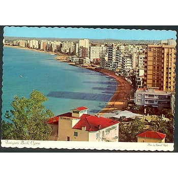 CYPRUS 1960's POSTCARD ,FAMAGUSTA BEACH*,MONA OLD,DT-4567-D,1974,MINT-moneyworld-store
