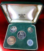CYPRUS 1963 COMPLETE PROOF SET 5 COINS OFFICIAL CASE,MINT,REFLECTIVE,ATTRACTIVE-moneyworld-store