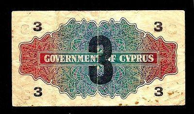 CYPRUS 1 SHILLING 1941 BANKNOTE OVERPRINTED 3 PIASTRES 1943,F+,KGVI-moneyworld-store
