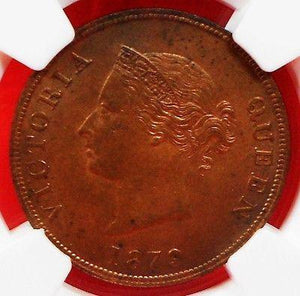 CYPRUS 1879 1/2 PASTRE NGC MS62 BN, QUEEN VICTORIA-moneyworld-store