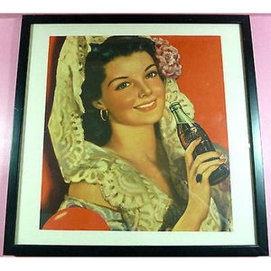 "CYPRUS 1950's *COCA-COLA*LITHOGRAPHY SIGN 15x15""UNIQUE,OLD,RARE,ORIGINAL-moneyworld-store"
