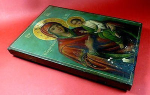 GREECE BYZANTINE ICON 1932 VIRGIN MARY*QUICK HEARING*HANDMADE,10X7'' RARE-moneyworld-store
