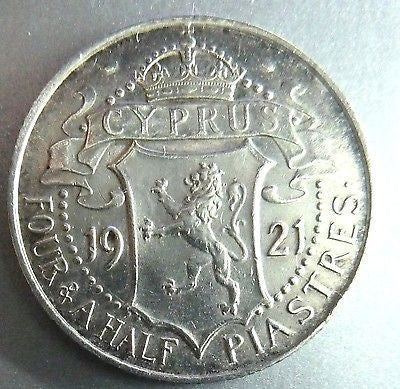 Cyprus 1921 Silver 4 1/2 Piastres 1921,XF,KM15 King George V-moneyworld-store