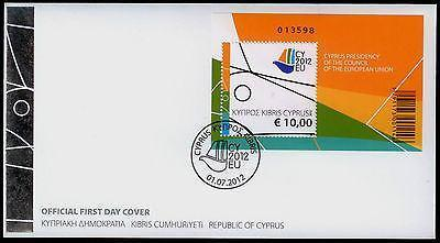 CYPRUS 2012 PRESIDENCY EU COUNCIL FIRST DAY COVER MINIATURE, FDC,OFFICIAL-moneyworld-store