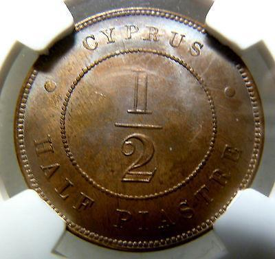 NGC MS63 RB CYPRUS 1879 1/2 PIASTRE BRONZE COIN-moneyworld-store