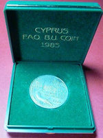 CYPRUS 1985 50 cent coin F.A.O , UNC IN OFFICIAL CASE-moneyworld-store