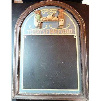 Summer Gift Unique! 1950's HANDMADE WOODEN CARVED*PIG WAITERS MENU BOARD*55X39CM-moneyworld-store