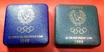 Great Coins! Cyprus 1988 £1 50c Silver PROOF Seoul Olympics Olympic Games-moneyworld-store