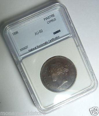 CYPRUS 1896 1 PIASTRE AUNC BRONZE COIN,QUEEN VICTORIA-moneyworld-store