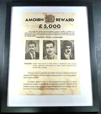 CYPRUS 1955 PROCLAMATION GREGORIS AFXENTIOU REWARD £5,000 ORIGINAL RARE EOKA-moneyworld-store
