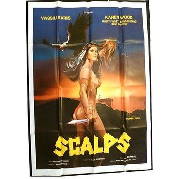 USA SCALPS 1986 MOVIE POSTER GIANT K. WOOD 140 x 99CM,XF,ORIGINAL,FOLDED,WESTERN-moneyworld-store
